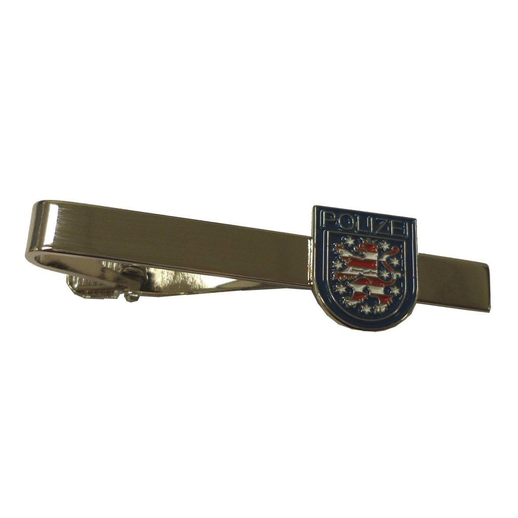 Krawattenspange silber mit Armabzeichen Polizei Thüringen in blau Krawattennadel
